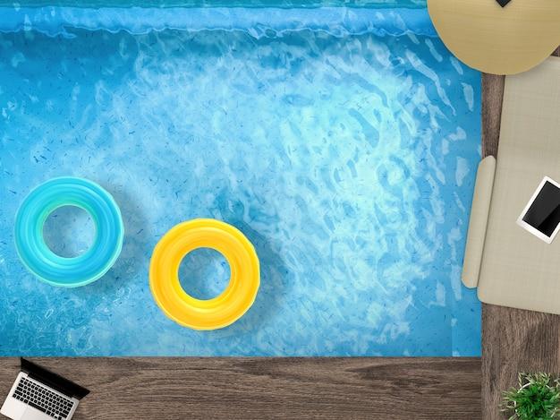 3d-рендеринг бассейна с кушеткой, ноутбуком и плавательными кольцами