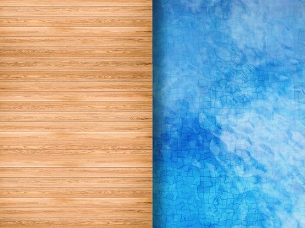 3d рендеринг вид сверху на бассейн с деревянным полом