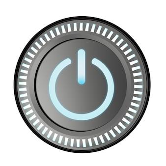 白で隔離の3dレンダリング電源ボタン