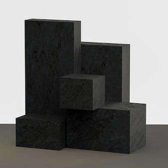 돌 질감 블록에서 3d 렌더링 제품 스탠드