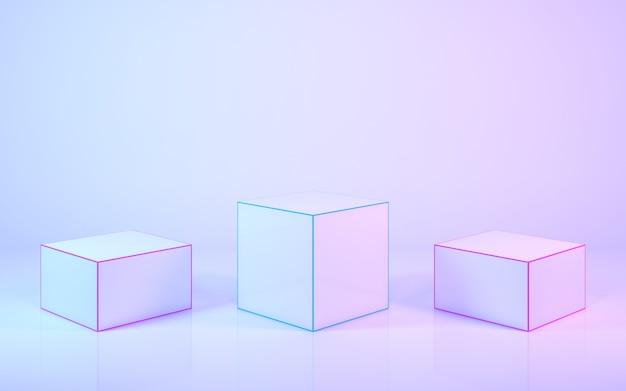 Стенд для продуктов 3d-рендеринга в пастельных тонах