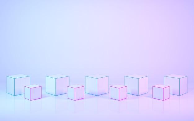 파스텔 색상의 3d 렌더링 제품 스탠드