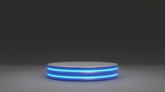 3d rendering product stand pedestal podium platform stage. modern black and blue shade emission