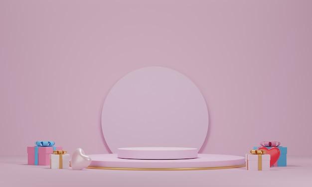 3d-рендеринг, продукция валентина подиум в платформе любви. абстрактная геометрия сцены для отображения продукта, настоящего и рекламы на розовом фоне. любовная открытка, плакат, сердце с подарочными коробками