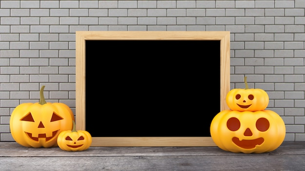 3d rendering, pumpkins with board on wood background, hallowee, jack o lantern,