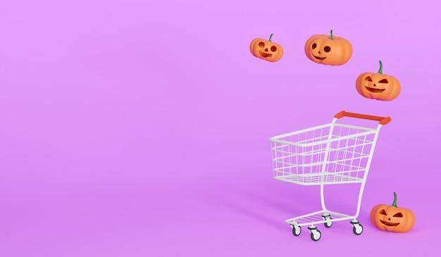파스텔 보라색 배경, 슈퍼마켓에서 할로윈 귀여운 개념에 장바구니와 3d 렌더링 호박