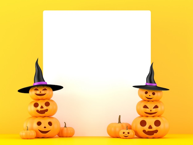 3d rendering, pumpkins with white board on yellow background, halloween, jack o lantern,