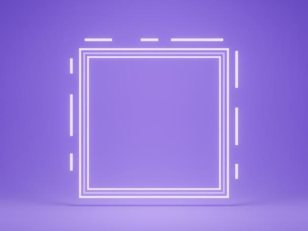 3d 렌더링. 흰색 네온 프레임 보라색 배경입니다.
