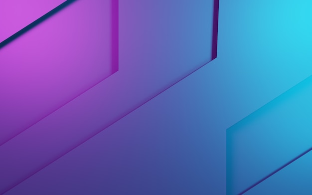 3d rendering of purple and blue abstract geometric background. cyberpunk concept.