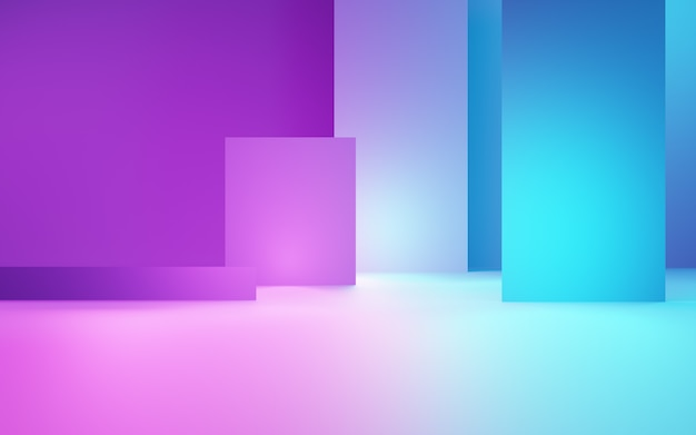 3d rendering of purple and blue abstract geometric background. cyberpunk concept