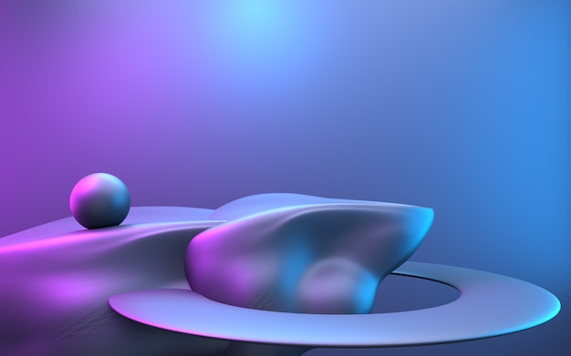 3d rendering of purple and blue abstract minimal concept background with empty stone podium. illustration.