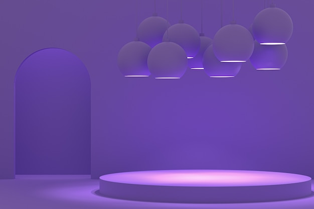 3dレンダリング、紫色の円形表彰台