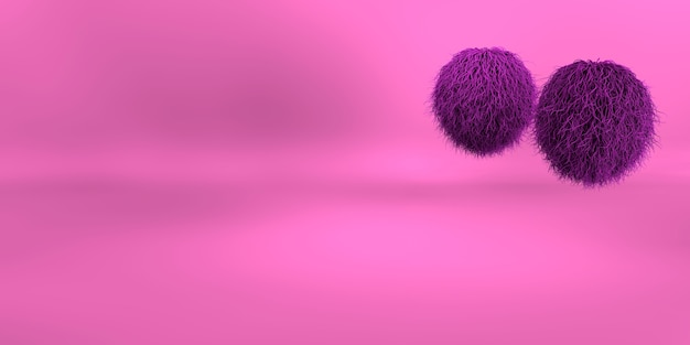 3d rendering of a purple geometric background for commercial advertising. purple fur balls. purple fluffy hairs ball on pink background