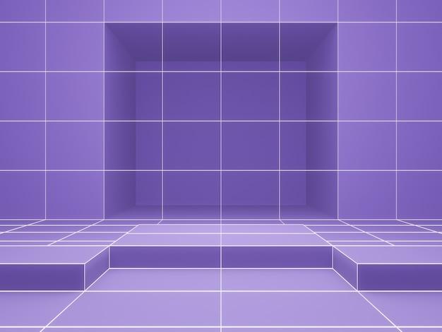 3dレンダリング。紫色の幾何学的なグリッド製品スタンド。