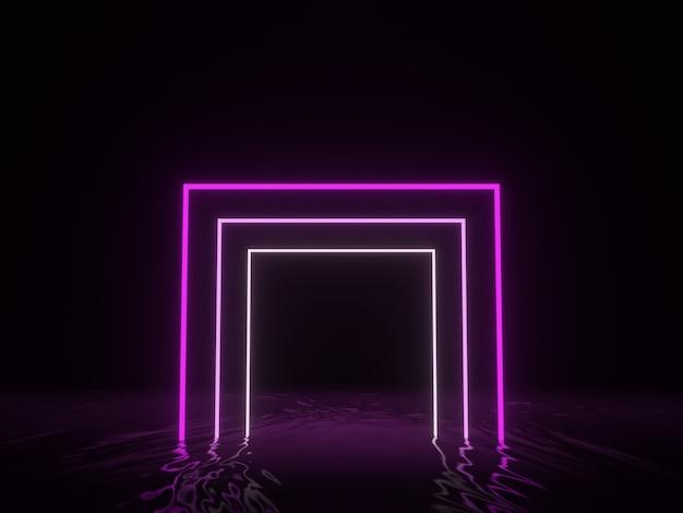 3d 렌더링. 보라색 기하학적 네온 빛 프레임.