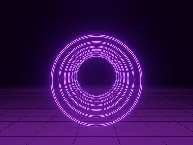 3d 렌더링. 보라색 빛 터널