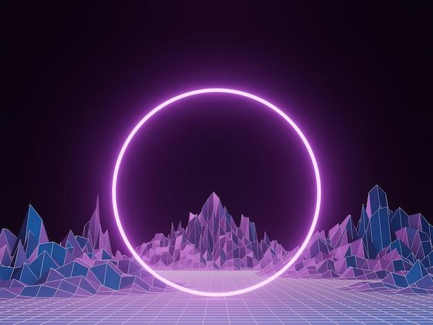3d rendering. purple portal frame. topographic terrain wireframe background.