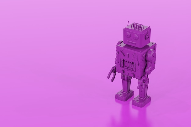3d rendering purple single color tin toy robot on purple background