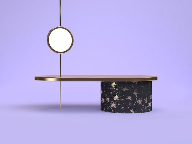 3d 렌더링 보라색 바이올렛 최소한의 추상 검은 기하학적 모양