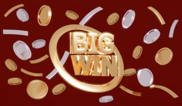 텍스트 big win이 있는 3d 렌더링 비 동전 및 빨간색 배경에 흐릿한 동전 전경