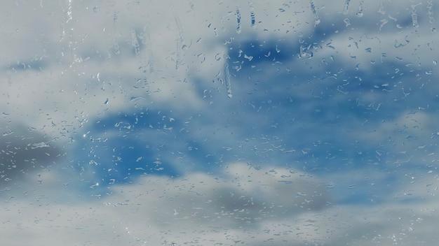 3d-рендеринг капли дождя на окне, падающие на макро стекло абстрактный дождливый день