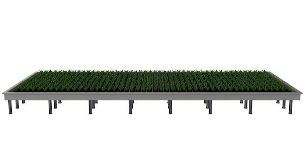 3d-рендеринг поднятых растений на грядке