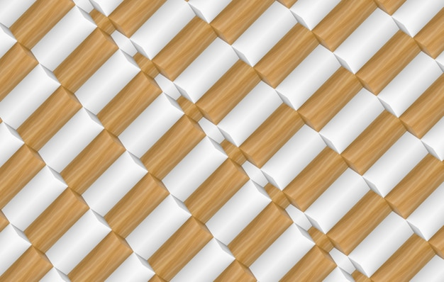 3d rendering. random modern minimal diangonal white and brown wood long cube stack wall texture design background.
