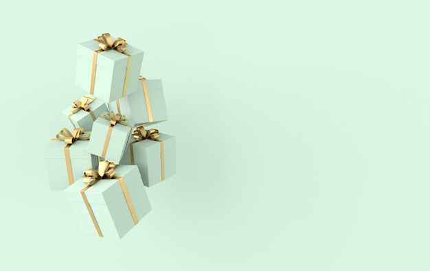 3d rendering of realistic green gift box with golden ribbon bow on green background