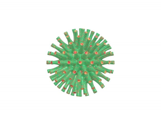 3d rendering realistic green red virus under the microscope, 2019-ncov coronavirus infection bacterium