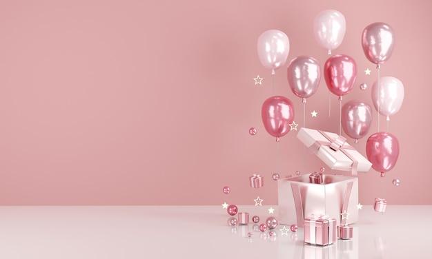 배경에 텍스트 및 선물을 위한 빈 복사 공간이 있는 3d 렌더링 현실적인 분홍색 풍선