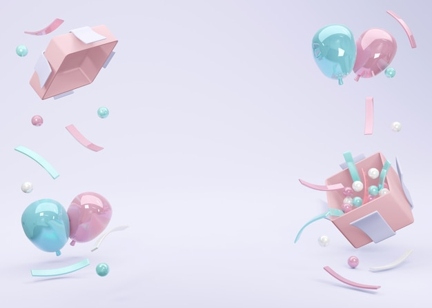 3d rendering realistic pink blue balloon floating from gift box with space for text on background