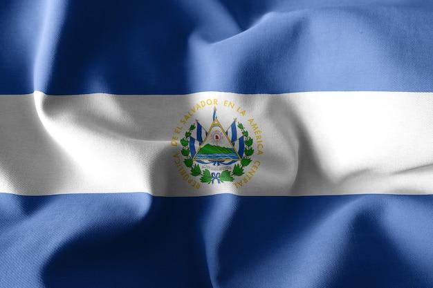 3d rendering realistic waving silk flag of el salvador