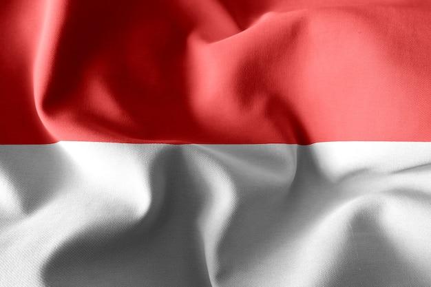 3d rendering realistic waving silk flag of indonesia