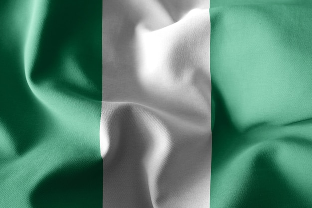 3d rendering realistic waving silk flag of nigeria