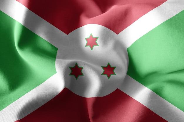 부룬디의 3d 렌더링 현실적인 흔들며 실크 깃발