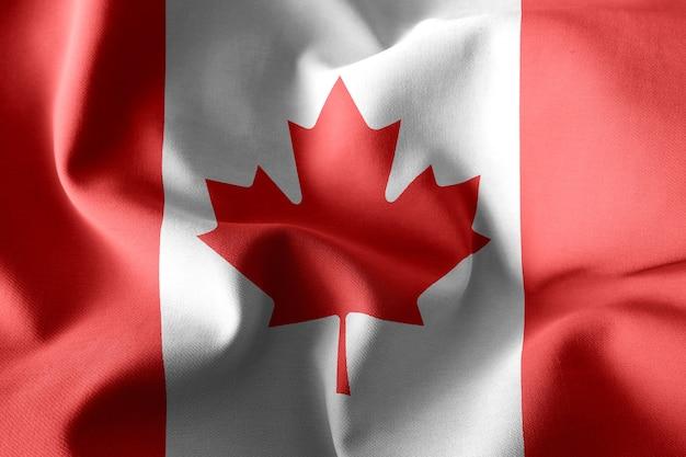 캐나다의 3d 렌더링 현실적인 흔들며 실크 깃발