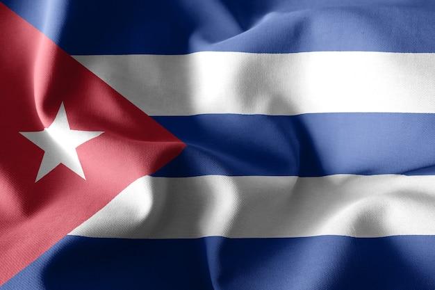 쿠바의 3d 렌더링 현실적인 흔들며 실크 깃발