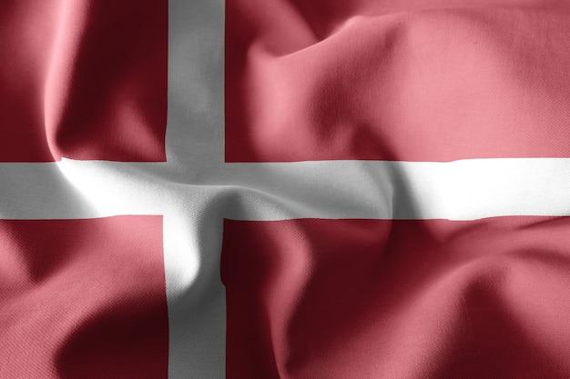 덴마크의 3d 렌더링 현실적인 흔들며 실크 깃발