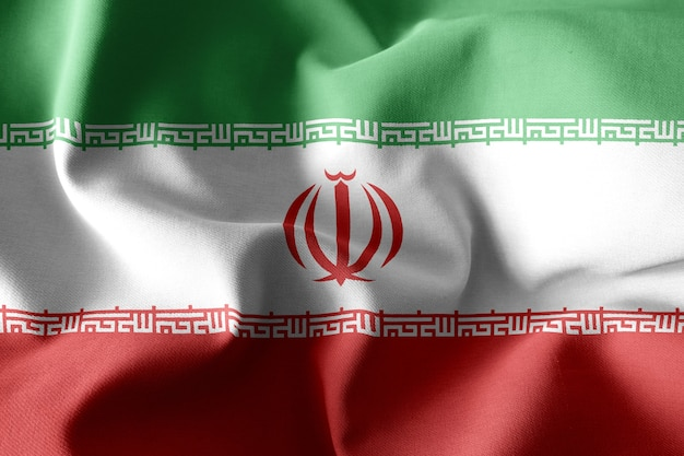 3d 렌더링 현실적인 흔들며 이란의 실크 깃발