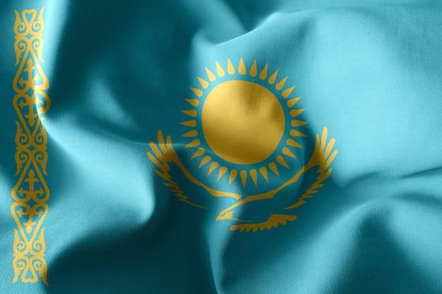 3d рендеринг реалистичный развевающийся шелковый флаг казахстана