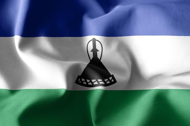 3d 렌더링 현실적인 흔들며 레소토의 실크 깃발