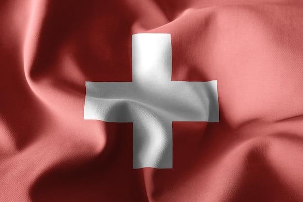 スイスのリアルな手を振るシルクの旗を3dレンダリング