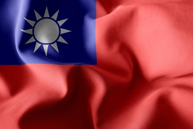3d рендеринг реалистичный развевающийся шелковый флаг тайваня