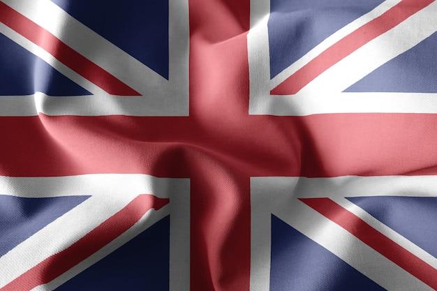 イギリスのリアルな手を振るシルクの旗を3dレンダリング