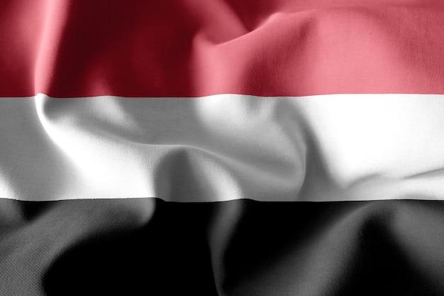 イエメンのリアルな手を振るシルクの旗を3dレンダリング