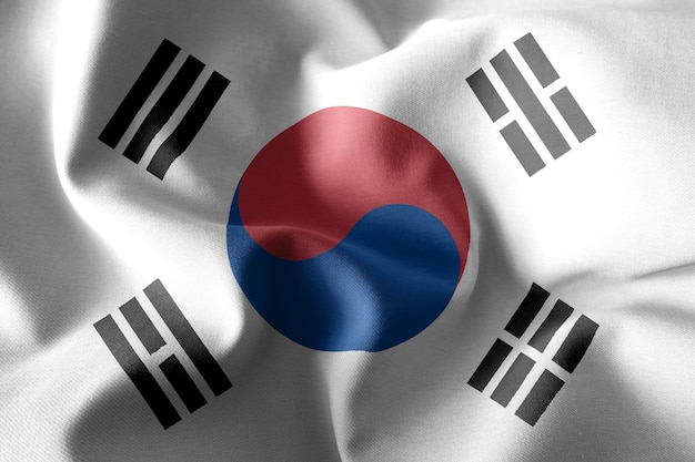 3d rendering realistic waving silk flag of south korea