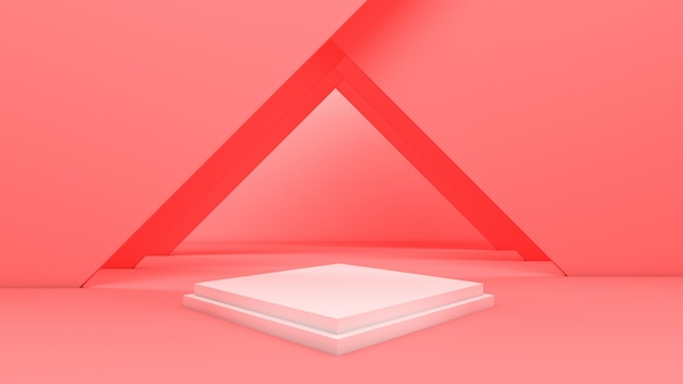 3d rendering of rectangle podium for show product