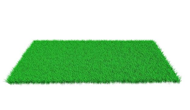 흰색 표면에 3d 렌더링 직사각형 녹색 잔디