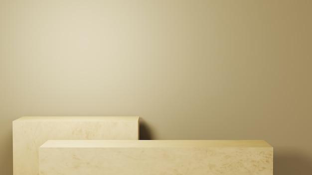 3d rendering of rectangular shelf in light brown tones background. for show product. blank scene showcase mockup.