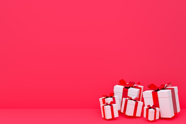 3d rendering,red background colorful realistic gift box with colorful bow on blank space for party, promotion social media banners, posters,birthday